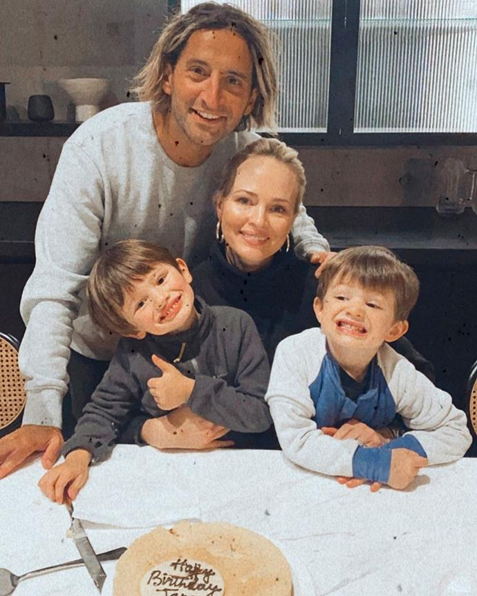 Jane pictured with her hairdresser husband and their two sons.