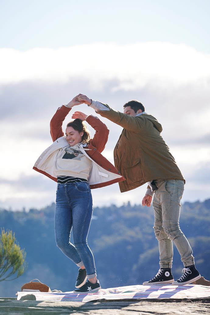 Courtney Miller and Kawakawa Fox-Reo share a dance over an incredible backdrop.