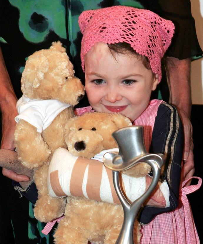In 2003 at just two years old, Sophie became trapped under a burning car that had ploughed into her daycare in Fairlight, Sydney.