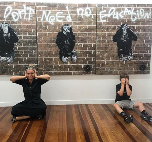 Ever the arty family, Bridie and her youngest son Otis captured this snap as they admired the works of local artist Christian Palmer.