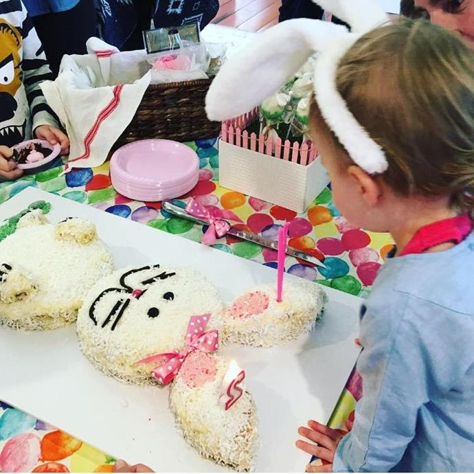 Mae with her bunny cake on her second birthday.