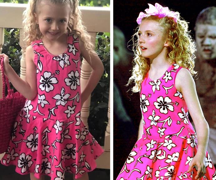 """It's a full circle moment! """"20 years on from #Sydney2000 and I can no longer fit into the dress but someone else can,"""" Nikki revealed alongside this amazing new snap of her daughter Skylah rocking *that* Hawaiian-print pink dress."""