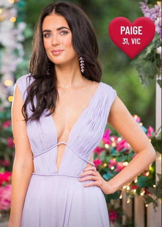 The stunning Paige from Victoria was also left rose-less at the end of the premiere episode.