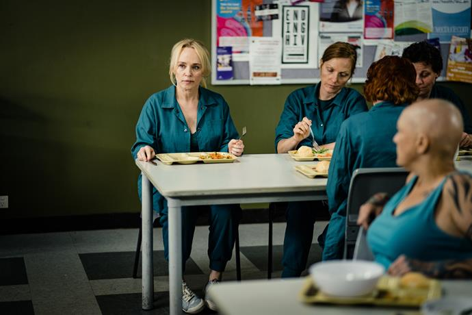 As with most of the stars of *Wentworth*, Susie has had to get used to seeing herself looking raw on screen.
