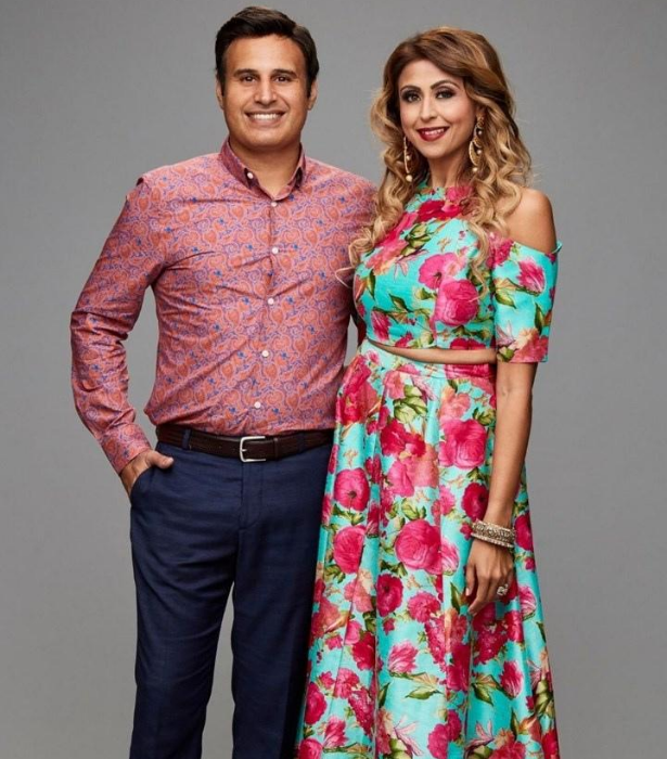 **TEAM INDIA: ASH & SIMRAN** <br><br> It was love at first sight for IT specialist Ash, 41, who met his wife actor and model Simran, 39, while they were both visiting their families in India. <br><br>