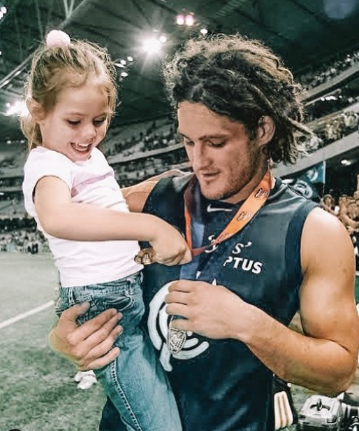 "Mia is proud as punch of her step-father, Brendan Fevola - she shared this adorable throwback of herself and the former footy star, writing: ""Congratulations Dad on such an incredible career in football. It's something that you should be very proud of, it's been a crazy ride but I'm so happy to have been apart of all your success over the years. Very proud to call you my dad. You really are one of the best."""