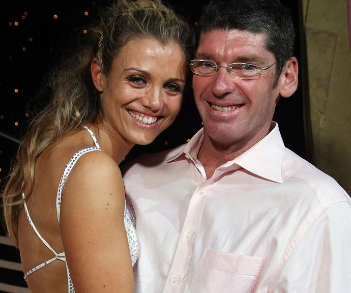 Winners are grinners: A proud Michael cuddles up to Bridie fresh after her *Dancing With The Stars* win in 2007.