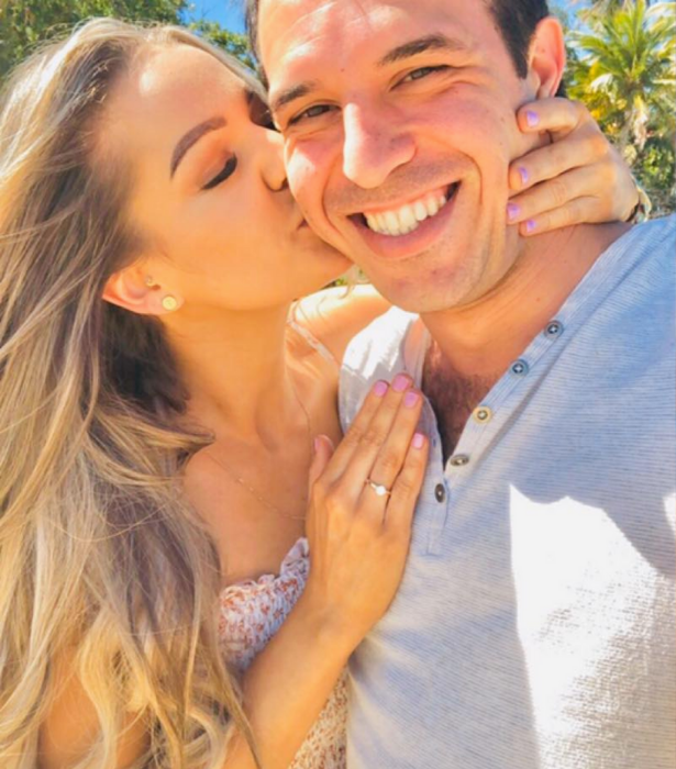 Sam confirmed his engagement to new love Katelen via Instagram.