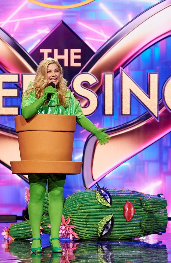 **Cactus:** Her energetic rendition of Bonnie Tyler's ballad *Total Eclipse Of The Heart* just wasn't enough to prickle the fancy of the judging panel and the voters, meaning actress and singer Lucy Durack, 37, was revealed to be the cactus.