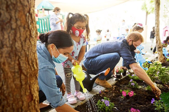 Harry and Meghan joined in planting Forget-Me-Not's in memory of Princess Diana on the 23rd anniversary of her passing.