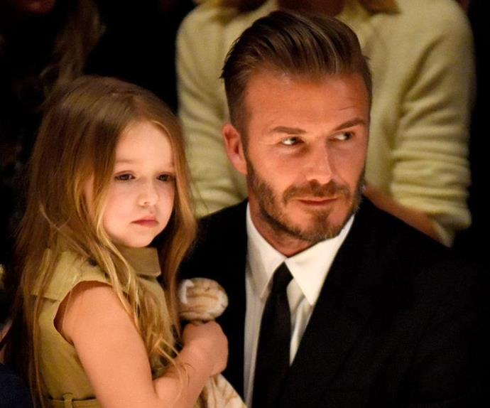 "David Beckham's youngest, and only daughter Harper takes after her dad in looks, and nature. With a middle name an ode to David's iconic shirt number - Seven - it's pretty clear these two share an incredibly special bond. In fact, David finds it *quite* hard to say no to his darling girl: ""I think I only said 'no' to her once,"" he previously said. ""And her bottom lip started shivering, and I said, 'never again'."""