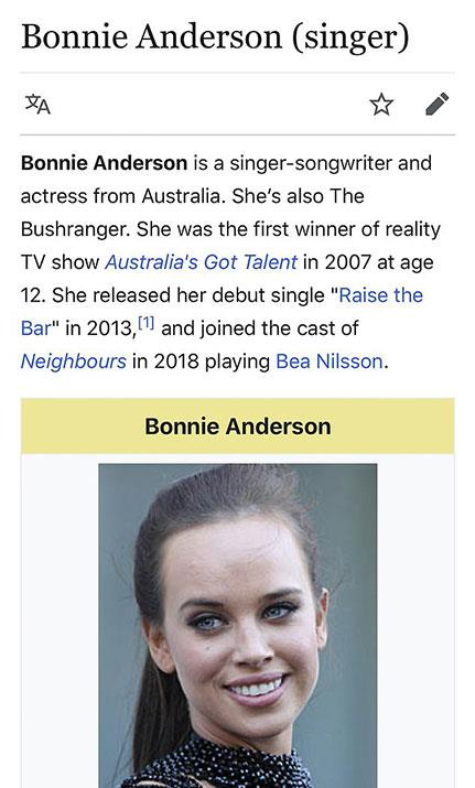 Whoops! This sneaky update to Bonnie's Wikipedia page speaks volumes.