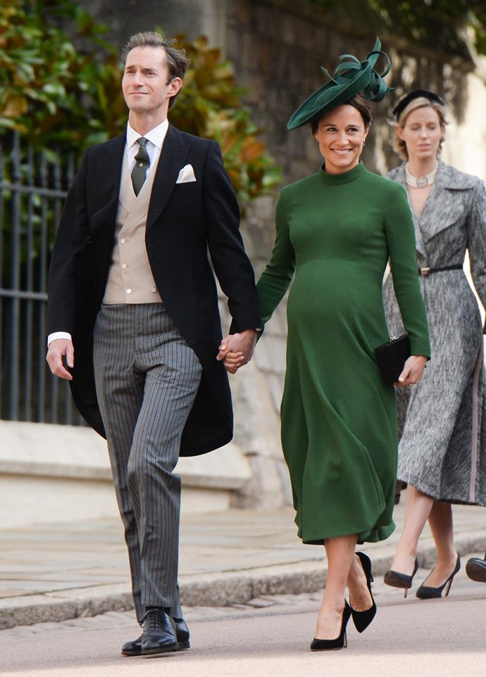 In October 2018, just weeks before she welcomed her new son Arthur Michael William Matthews, Pippa looked gorgeous in this green maternity style for Princess Eugenie's wedding to Jack Brooksbank.