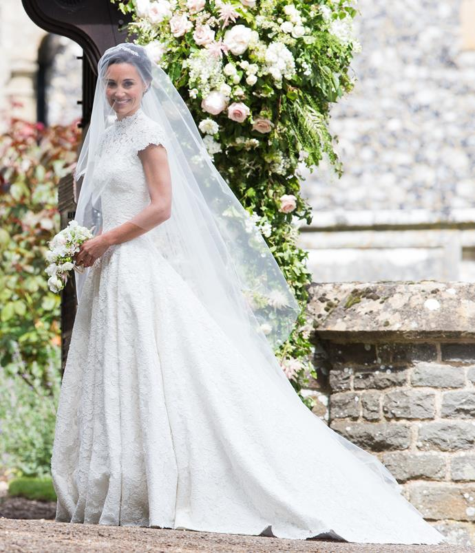 "In 2017, the bridesmaid became the bride when Pippa [married her partner James Matthews](https://www.nowtolove.com.au/royals/british-royal-family/pippa-middleton-james-matthews-relationship-64004|target=""_blank""). Her Giles Deacon wedding dress, which featured capped sleeves and delicate lace with a high-necked bodice, was, quite frankly, everything."