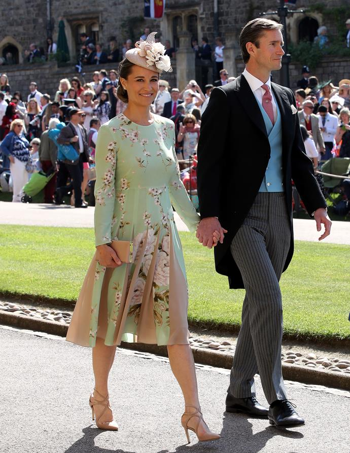 Prince Harry and Duchess Meghan's 2018 royal wedding was a sight to behold - as was Pippa, whose green ensemble designed by The Fold had all heads turning - not least because of her growing baby bump as she and her husband James Matthews prepared to welcome their first son.