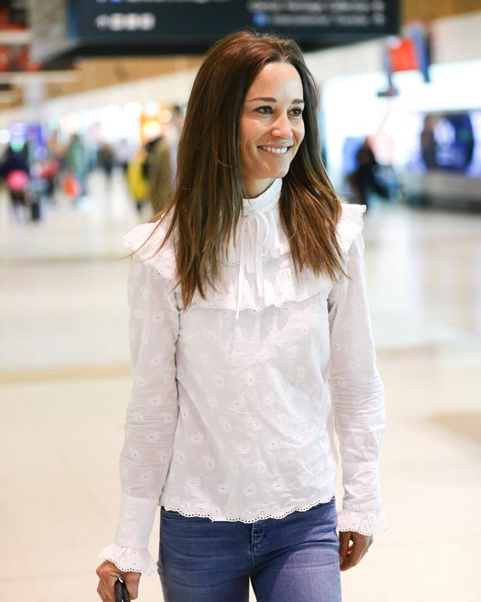 Pippa arrived at Sydney airport in 2017 in the epitome of trans seasonal, feminine chic. Her embrodided blouse and denim jeans combo was the stuff of streetwear fashion dreams.