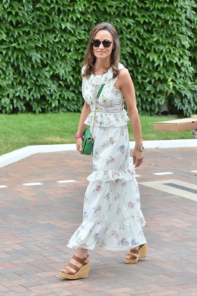 "That same year, she attended Wimbledon in this heavenly floral frock - with a trusty pair of wedges, a style her [sister Catherine is also synonymous with wearing](https://www.nowtolove.com.au/fashion/fashion-trends/kate-middleton-espadrilles-56638|target=""_blank"")."