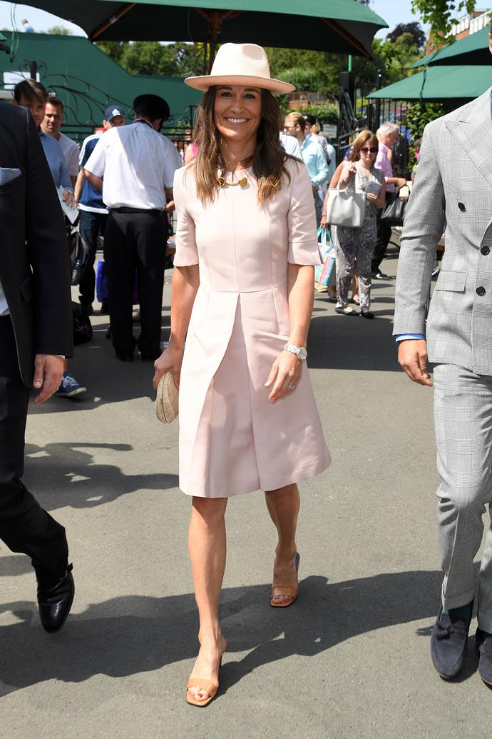 Pippa's Stella McCartney get-up worn to Wimbledon in 2019 might just be our favourite style on her of all time. The hat, the dress, the je ne said quois vibe. This look was everything.