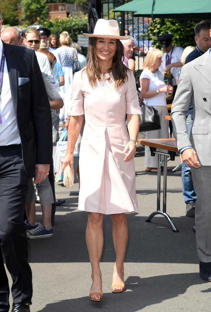 Pippa's hat, designed by British label Luisa Kelsey, was the perfect accessory to her summery court-side look.