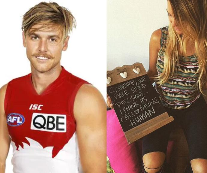 "**Dane Rampe** <br><br> It's a classic case or did they or didn't they? In early 2015 after saying she was dating Sydney Swans player Dane Rampe, Sam reneged on her claim. The radio star took to social media to share her statement, holding a chalkboard which read: ""Sometimes we make stupid decisions ... I think it's called being human."""