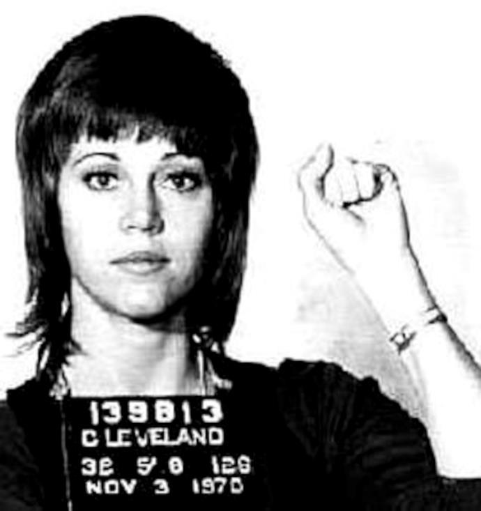 Jane Fonda in a mug shot following her arrest in 1970.