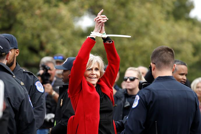Jane was arrested in Washington last year for civil disobedience as she campaigned against the government's inaction on climate change called Fire Drill Fridays.