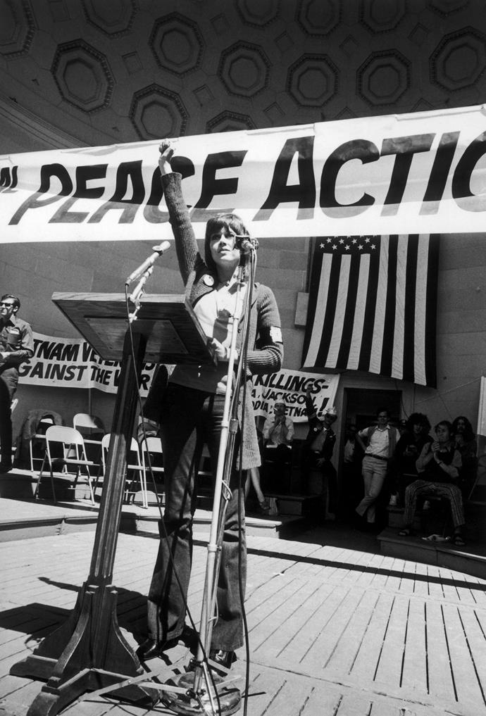 Jane pictured in 1970 campaigning for peace in Vietnam.