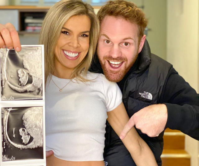 Carly and Neil announced the exciting news with this adorable snap.