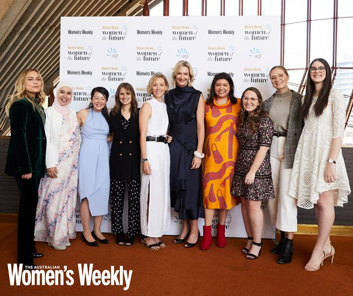 Editor-in-Chief Nicole Byers (centre) with all of last year's finalists at the 2019 Women of the Future Awards Luncheon.