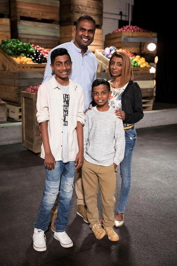Sashi's wife and two kids appeared on set during his time on the show.