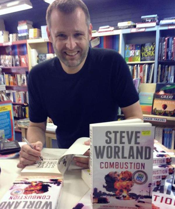 Steve, pictured with his novel *Combustion* - which he released in 2013, is an accomplished author, screenwriter and actor in his own right.