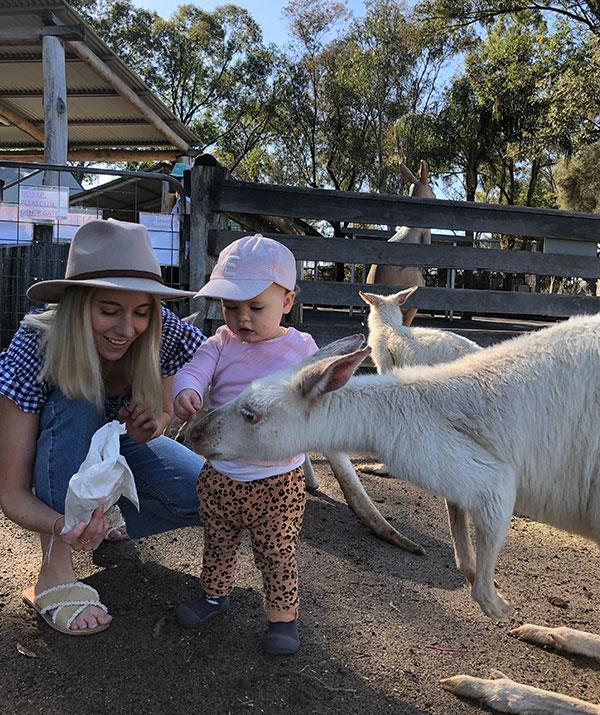 Up close and personal with Skippy: Feeding these albino wallabies was a very special moment.