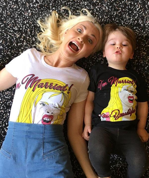 Mother-son matching T-shirts for the win.