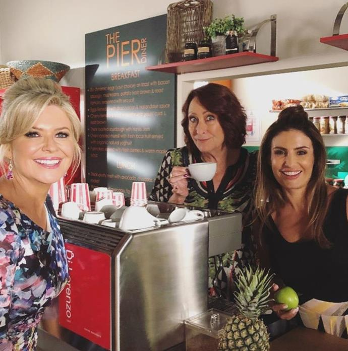 Our favourite ladies just hanging out at the diner for Emily Symons' birthday.