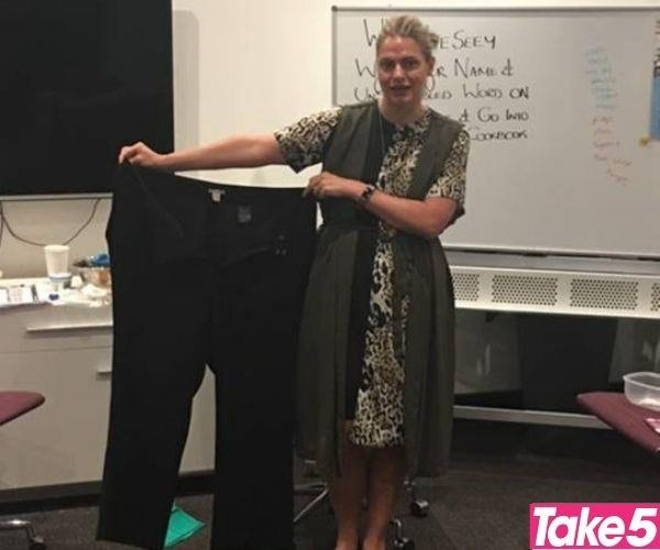 A year later, I'd lost 25kg and my old pants were far too big for me.  *(Image: Supplied)*