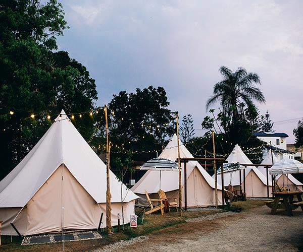 Some of the bell tents at The Hideaway Cabarita.