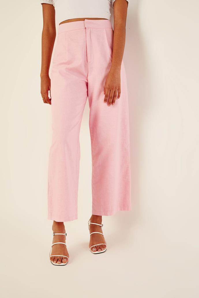 """Perfect stranger paradise pant, $79.95. [Buy them online here](https://www.universalstore.com/perfect-stranger-paradise-pant-pink.html