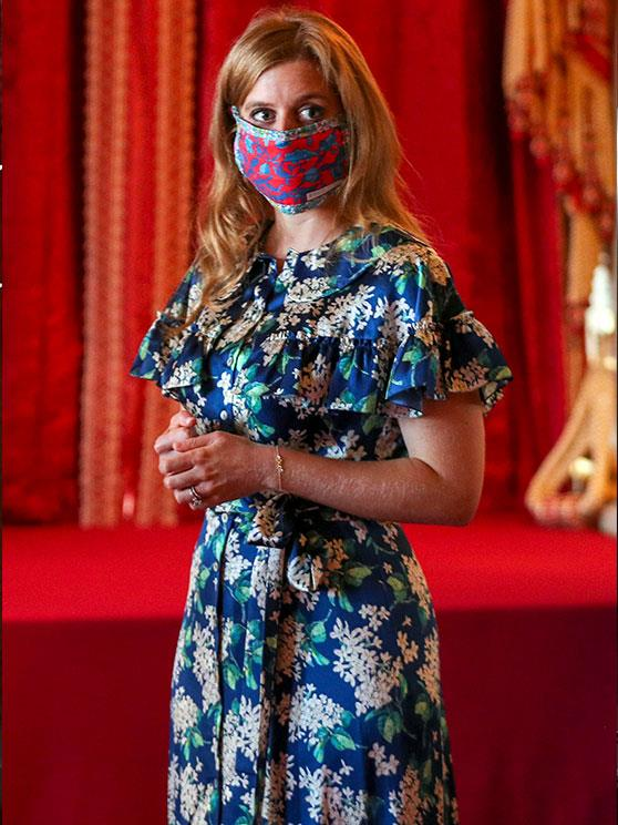 In keeping with government guidelines, Princess Beatrice stepped out in a mask for the occasion.