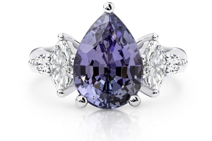"""The custom-made ring is set with a striking 6.14ct pear shape purple Tanzanite gemstone accentuated by two marquise diamonds and two pear cut diamonds,"" Nicole explained."