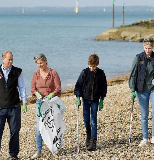 Sophie Wessex and her family joined in a beach clean up day earlier in September.