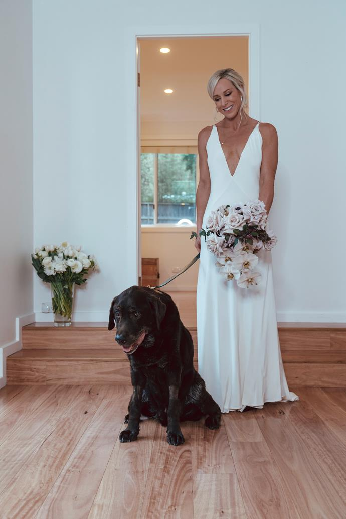 Miracle pooch Kobi played a major part in the wedding, walking Karen down the aisle and as ring bearer.