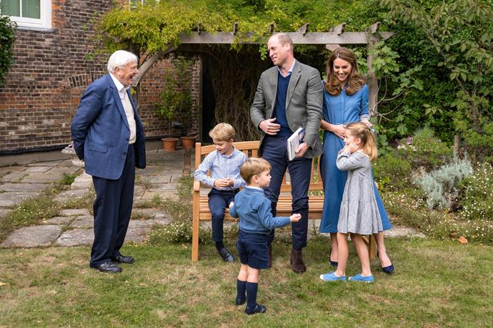 Sir David Attenborough joined the royals in the garden of their home in Kensington Palace.