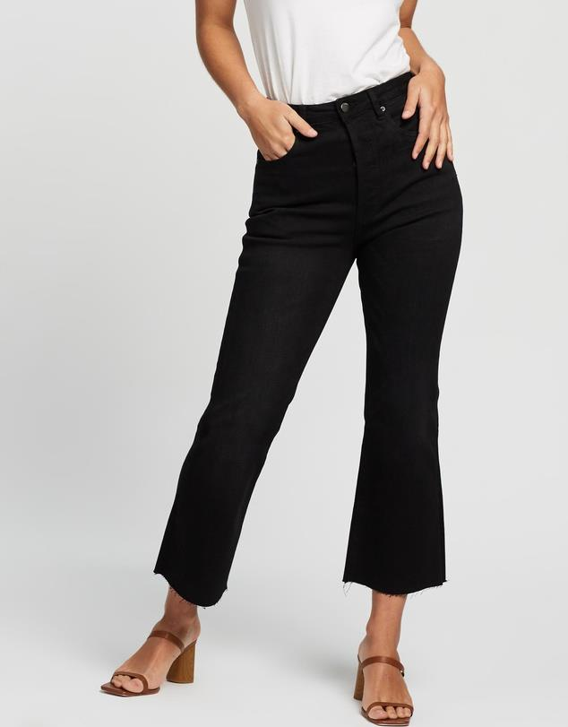 """In kick-flares, we trust. These Atmos & Here gems are chic enough for work, and edgy enough for a spicy marg or three come 5.30pm... $79.99, **[buy them online here](https://www.theiconic.com.au/georgia-crop-flare-jeans-990197.html