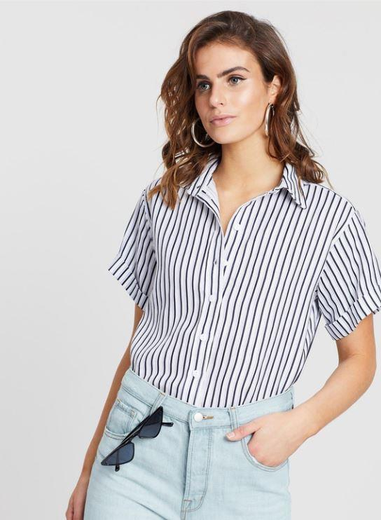 "This short-sleeved White by FTL shirt is perfect if you're after a lighter summery style. $119, **[buy it online via The Iconic here](https://www.theiconic.com.au/elin-shirt-744388.html|target=""_blank""
