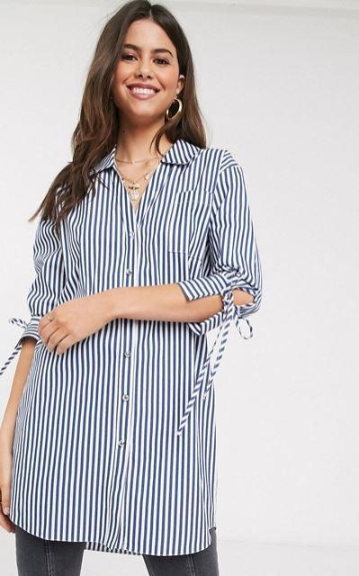 "This River Island style features a longer silhouette and unique lace cuffs. $54.60 (on sale), **[buy it online via ASOS here](https://www.asos.com/au/river-island/river-island-poplin-stripe-shirt-in-blue/prd/20057891|target=""_blank""