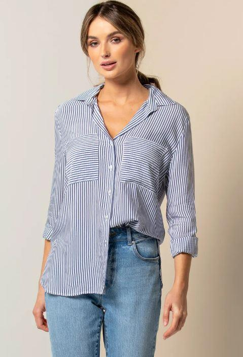 "Forever New's go-to stripey shirt is simple, chic and perfect for trans-seasonal weather. $69.99, **[buy it online here](https://www.forevernew.com.au/adara-stripe-shirt-264965?colour=dark-blue-stripe|target=""_blank""