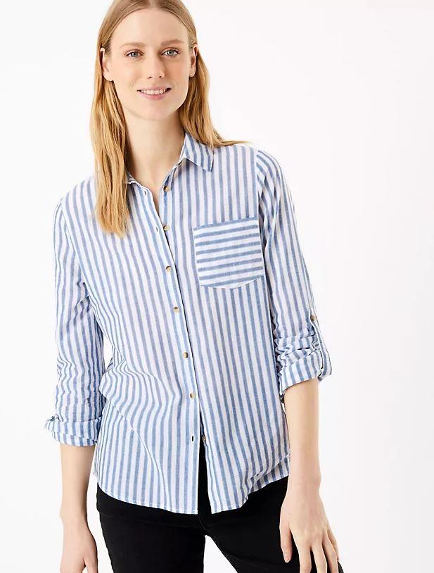 "Marks & Spencer can always be trusted to come out with the goods in basic wardrobe staples - case in point, this cotton relaxed stripy shirt. $42.50, **[buy it online here](https://www.marksandspencer.com/au/pure-cotton-striped-relaxed-shirt/p/P60445542.html|target=""_blank""