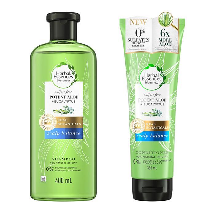 "[Herbal Essences Bio:Renew Potent Aloe Collection](https://herbalessences.com.au/en-au/kew-botanical-natural-shampoo-and-conditioner|target=""_blank""|rel=""nofollow""), $19.99 each at Priceline"