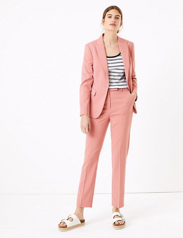 "Marks & Spencer mia slim cotton ankle grazers. $75, [buy them online here](https://www.marksandspencer.com/au/mia-slim-cotton-ankle-grazer-trousers/p/P60437303.html|target=""_blank""