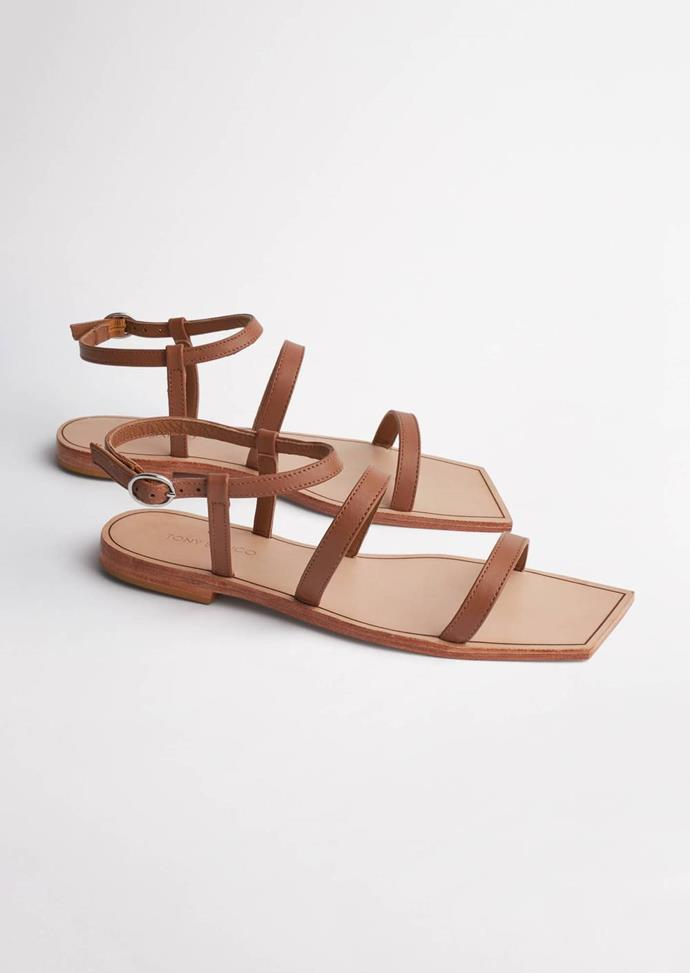 """Similarly, these simple Tony Bianco strappy sandals will go with anything and everything in your summer wardrobe. $99.95, **[buy them online here.](https://www.tonybianco.com/collections/sandals/products/reiki-tan-flats